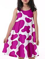 cheap -Kids Little Girls' Dress Geometric Print Purple Knee-length Sleeveless Active Dresses Summer Regular Fit 5-12 Years