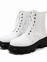 cheap -Women's Boots Platform Round Toe PU Synthetics White Black