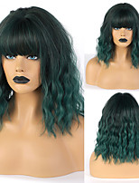 cheap -Short Pastel Wave Wig With Air Bangs Women's Short Bob green Pink Wig Synthetic Party Cosplay Hair Costume Wigs for women