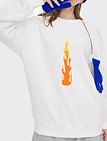 cheap -Women's Pullover Sweatshirt Flame Print Daily Other Prints Basic Hoodies Sweatshirts  White Blue Blushing Pink