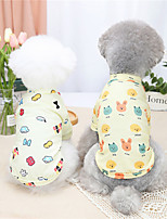 cheap -Dog Cat Shirt / T-Shirt Cartoon Rabbit / Bunny Basic Adorable Cute Dailywear Casual / Daily Dog Clothes Puppy Clothes Dog Outfits Breathable Light Yellow Yellow Costume for Girl and Boy Dog Cotton S