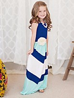 cheap -Kids Little Girls' Dress Color Block Sundress Print Blushing Pink Navy Blue Sleeveless Active Dresses Summer Regular Fit 2-6 Years