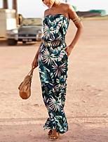 cheap -Women's Sheath Dress Maxi long Dress Army Green Dusty Blue Sleeveless Floral Color Block Print Summer Strapless Casual Boho 2021 S M L XL XXL