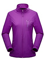 cheap -Women's Hiking Jacket Hiking Windbreaker Autumn / Fall Spring Outdoor Solid Color Waterproof Windproof Quick Dry Lightweight Jacket Top Full Length Visible Zipper Hunting Fishing Climbing Purple Blue