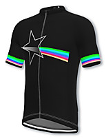 cheap -21Grams Men's Short Sleeve Cycling Jersey Spandex Black Stars Bike Top Mountain Bike MTB Road Bike Cycling Breathable Quick Dry Sports Clothing Apparel / Athleisure