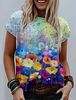 cheap -Women's T shirt Graphic Floral Print Round Neck Tops Basic Basic Top Blue Purple Green