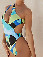 cheap -Women's One Piece Monokini Swimsuit Push Up Open Back Color Block Green Swimwear Padded Bathing Suits New Fashion Sexy