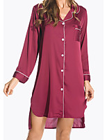 cheap -Women's Shirt Collar Chemises & Gowns Pajamas Solid Colored