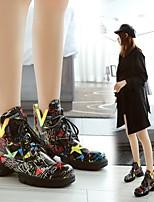 cheap -Women's Boots Chunky Heel Round Toe PU Synthetics White Black