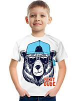 cheap -Kids Boys' Tee Short Sleeve Graphic Animal Children Tops Active White 3-12 Years