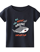 cheap -Kids Boys' T shirt Short Sleeve Black White Blue Graphic Daily Wear Print Children Children's Day Summer Spring & Summer Tops Active Regular Fit White Black Blue 2-9 Years