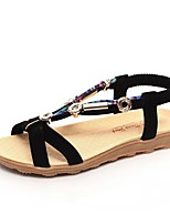 cheap -Women's Sandals Boho Bohemia Beach Flat Heel Peep Toe Flat Sandals Casual Daily Walking Shoes PU Solid Colored Black Red Beige