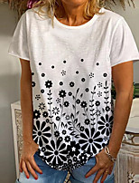 cheap -Women's T shirt Graphic Floral Print Round Neck Tops Basic Basic Top White