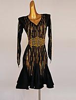 cheap -Latin Dance Dress Acrylic Jewels Women's Performance Long Sleeve Spandex