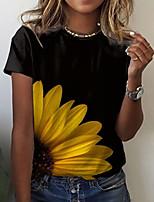 cheap -Women's T shirt Graphic Floral Print Round Neck Tops Basic Basic Top White Black