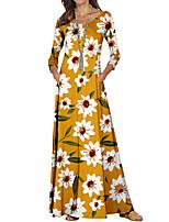 cheap -Women's Sheath Dress Maxi long Dress Black Yellow Long Sleeve Floral Color Block Print Fall Spring Round Neck Casual 2021 S M L XL XXL 3XL