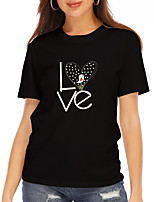 cheap -Women's T shirt Graphic Heart Letter Print Round Neck Tops 100% Cotton Basic Basic Top Black
