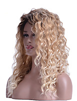 cheap -Water Wave Brown Ombre Blonde Dark Root Synthetic Wigs With Bangs Curly Hair Wigs Cosplay Wigs or Daily Hair Style