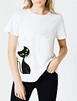 cheap -Women's T shirt Letter Print Round Neck Tops Cotton Basic Basic Top White Black Purple