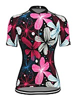 cheap -21Grams Women's Short Sleeve Cycling Jersey Spandex Pink Floral Botanical Bike Top Mountain Bike MTB Road Bike Cycling Breathable Sports Clothing Apparel / Stretchy / Athleisure