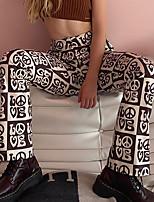 cheap -Women's Hip-Hop Streetwear Comfort Daily Weekend Pants Pants Lattice Full Length Print Brown