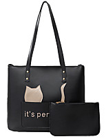 cheap -Women's Bags PU Leather Tote 2 Pieces Purse Set Zipper Solid Colored Daily Going out Bag Sets Tote Handbags White Black