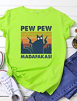 cheap -Women's T shirt Cat Letter Animal Print Round Neck Tops 100% Cotton Basic Basic Top White Black Blue