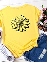 cheap -Women's T shirt Floral Print Round Neck Tops 100% Cotton Basic Basic Top White Yellow Blushing Pink
