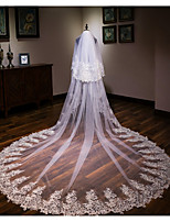 cheap -Two-tier Flower Style / Lace Wedding Veil Chapel Veils / Cathedral Veils with Solid / Trim 137.8 in (350cm) Lace / Tulle