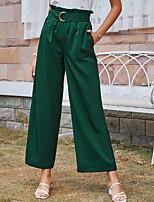 cheap -Women's Stylish Chino Daily Going out Culotte Pants Plain Full Length Pocket Elastic Waist ArmyGreen
