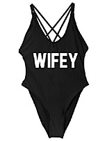cheap -calvary women wifey one piece letter bikini bodysuit bather beach sexy back cross swimsuit