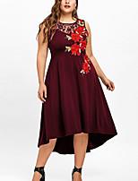 cheap -Women's A Line Dress Midi Dress White Black Wine Sleeveless Geometric Lace Patchwork Print Fall Summer Round Neck Elegant Casual 2021 XL XXL 3XL 4XL 5XL