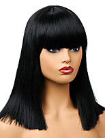 cheap -Synthetic Wig Natural Straight Neat Bang Wig Medium Length Black Synthetic Hair Women's Party Fashion Comfy Black