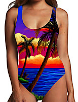 cheap -Women's One Piece Monokini Swimsuit Tummy Control Print Color Block Tropical Blue Swimwear Bodysuit Strap Bathing Suits New Fashion Sexy / Leaf