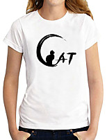 cheap -Women's T shirt Cat Graphic Letter Print Round Neck Tops 100% Cotton Basic Basic Top White Black