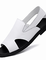 cheap -Men's Sandals Beach Roman Shoes Daily Nappa Leather Breathable Non-slipping Wear Proof White Black Spring Summer