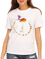 cheap -Women's T shirt Graphic Floral Print Round Neck Tops 100% Cotton Basic Basic Top White Black
