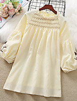 cheap -Kids Little Girls' Dress Flower Festival Embroidered White Yellow Knee-length Long Sleeve Sweet Dresses New Year Spring & Summer Loose 3-13 Years