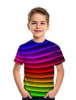 cheap -Kids Boys' T shirt Tee Short Sleeve Graphic 3D Print Children Tops Active Rainbow