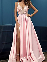 cheap -A-Line Beautiful Back Sexy Engagement Formal Evening Dress Spaghetti Strap Sleeveless Floor Length Stretch Satin with Split 2021