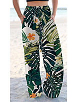 cheap -Women's Basic Chino Comfort Going out Beach Pants Pants Butterfly Flower / Floral Short Elastic Drawstring Design Print Green