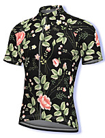 cheap -21Grams Men's Short Sleeve Cycling Jersey Spandex Black Floral Botanical Bike Top Mountain Bike MTB Road Bike Cycling Breathable Quick Dry Sports Clothing Apparel / Athleisure