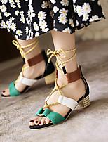 cheap -Women's Sandals Boho Bohemia Beach Roman Shoes Gladiator Sandals Chunky Heel Open Toe Nubuck Lace-up Color Block Black Fuchsia Pink