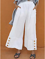 cheap -Women's Casual / Sporty Chino Comfort Casual Beach Wide Leg Pants Plain Short Classic Pocket White