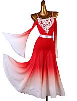 cheap -Ballroom Dance Dress Appliques Split Joint Women's Training Long Sleeve Chinlon Mesh Chiffon