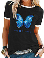 cheap -Women's T shirt Butterfly Letter Patchwork Print Round Neck Tops Basic Basic Top White Black Blue