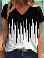 cheap -Women's T shirt Striped Color Block Print V Neck Tops Basic Basic Top Black