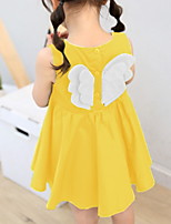 cheap -Kids Little Girls' Dress Flower Ruched Yellow Green Knee-length Sleeveless Cute Dresses Fall Summer Regular Fit 2-6 Years