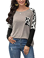 cheap -women's leopard print long sleeve tops round neck color block shirts with pockets grey xl
