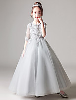cheap -Princess / Ball Gown Jewel Neck Floor Length Tulle Junior Bridesmaid Dress with Pleats / Appliques
